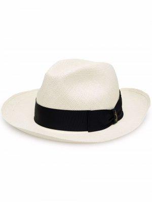 Соломенная шляпа с лентой Borsalino. Цвет: нейтральные цвета