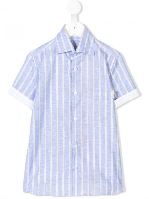 Полосатая рубашка с короткими рукавами Stefano Ricci Kids. Цвет: синий