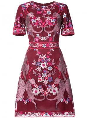 Коктейльное платье с цветочным узором Marchesa Notte. Цвет: красный