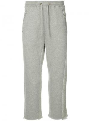 Укороченные спортивные брюки Facetasm. Цвет: серый