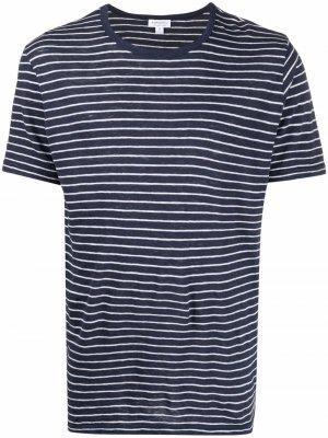 Полосатая футболка с короткими рукавами Sunspel. Цвет: синий