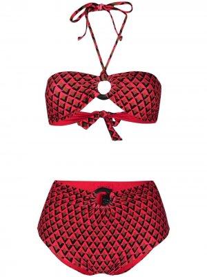 Бикини с лифом-бандо и геометричным принтом Fisico. Цвет: красный