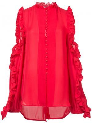 Блузка с вырезными деталями и оборками Ronny Kobo. Цвет: красный