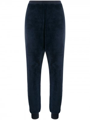 Пижамные брюки из искусственного меха Emporio Armani. Цвет: синий