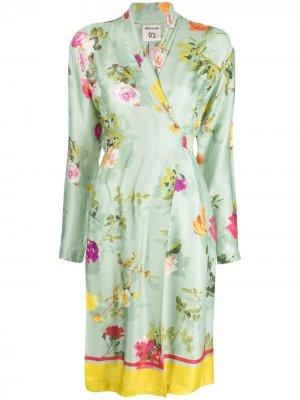 Платье-рубашка с цветочным принтом Semicouture. Цвет: зеленый