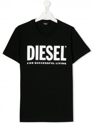 Футболка с логотипом Diesel Kids. Цвет: черный