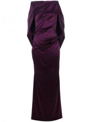 Длинное вечернее платье с драпировкой Talbot Runhof. Цвет: розовый