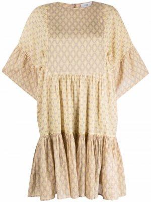 Ярусное платье-футболка с геометричным принтом Closed. Цвет: желтый