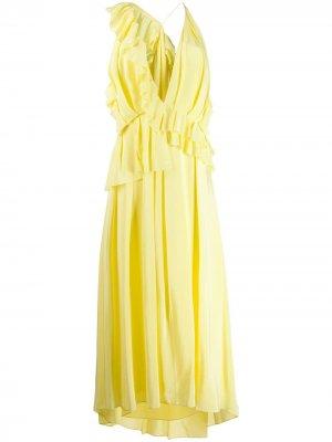 Платье асимметричного кроя с оборками Victoria Beckham. Цвет: желтый