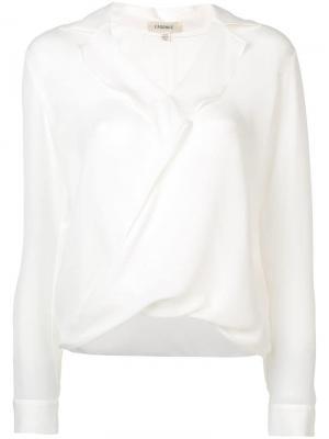 Блузка с V-образным вырезом и драпировкой L'agence. Цвет: белый