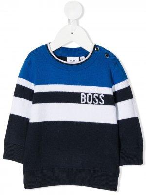 Stripe knit jumper BOSS Kidswear. Цвет: черный