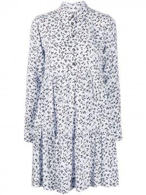 Платье-рубашка с цветочным принтом GANNI. Цвет: синий