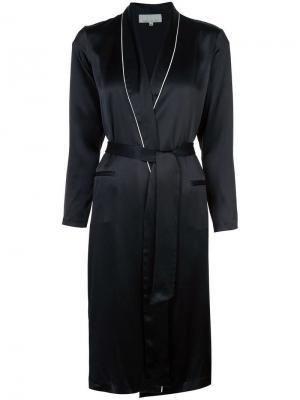 Халат с контрастной окантовкой и карманами листочками Fleur Du Mal. Цвет: черный