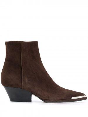 Ботильоны в стиле вестерн со вставкой на носке Sergio Rossi. Цвет: коричневый