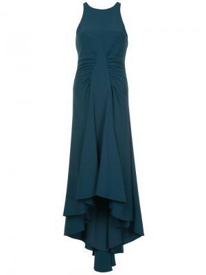 Асимметричное платье со сборками Halston Heritage. Цвет: синий