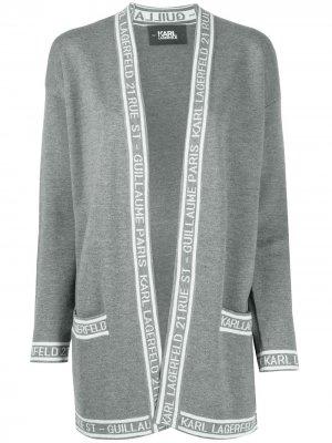 Пальто-кардиган вязки интарсия с длинными рукавами Karl Lagerfeld. Цвет: серый