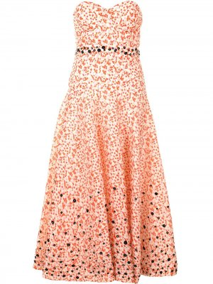 Платье без бретелей с цветочным принтом Delpozo. Цвет: белый