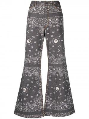 Расклешенные брюки с принтом Natasha Zinko. Цвет: серый