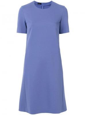 Расклешенное платье с короткими рукавами Les Copains. Цвет: синий