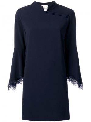 Платье смещенного силуэта с воротником-стойкой Aniye By. Цвет: синий