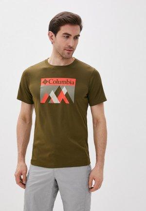 Футболка спортивная Columbia. Цвет: хаки