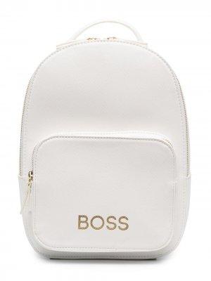 Рюкзак с логотипом BOSS Kidswear. Цвет: белый