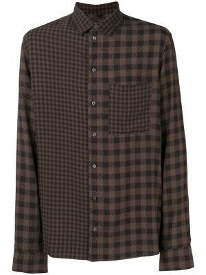 Contrast check shirt Qasimi. Цвет: коричневый