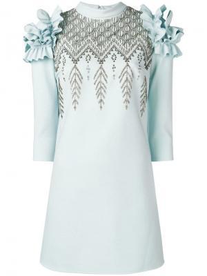 Коктейльное платье с пайетками Elisabetta Franchi. Цвет: синий