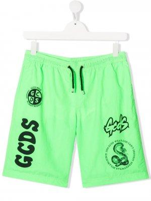 Плавки-шорты с логотипом Gcds Kids. Цвет: зеленый