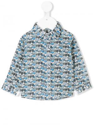 Рубашка с принтом машин Cashmirino. Цвет: синий