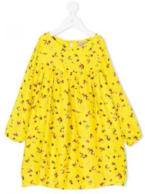 Платье с цветочным принтом Preen Mini. Цвет: желтый