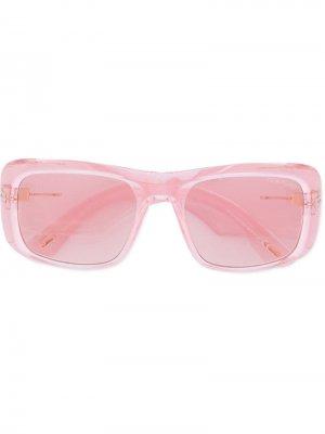 Солнцезащитные очки в массивной прямоугольной оправе Tom Ford Eyewear. Цвет: розовый