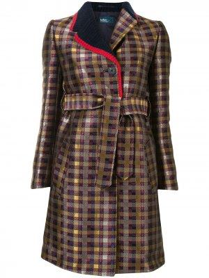 Пальто в клетку Kolor. Цвет: золотистый