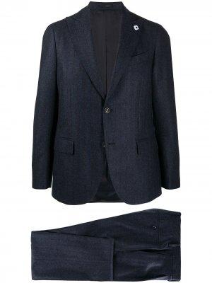 Костюм с однобортным пиджаком в полоску Lardini. Цвет: синий