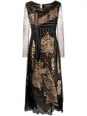 Платье миди с кружевными вставками Antonio Marras. Цвет: черный