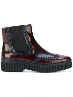 Ботинки челси на флатформе Tod's. Цвет: красный