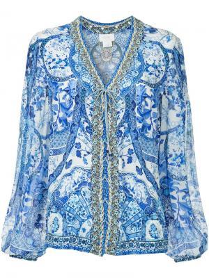Блузка в крестьянском стиле Eternitys Empire Camilla. Цвет: синий