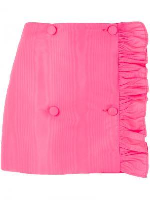 Асимметричная мини-юбка с оборкой MSGM. Цвет: розовый