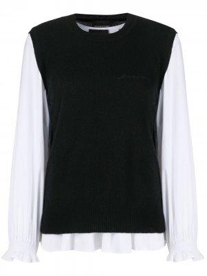 Блузка с трикотажным жилетом Ermanno. Цвет: черный