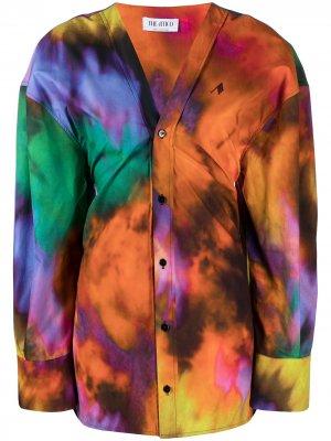 Блузка на пуговицах с принтом тай-дай The Attico. Цвет: оранжевый