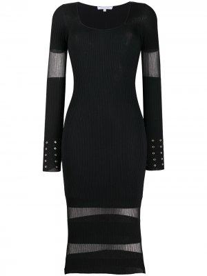 Трикотажное платье с прозрачными вставками Patrizia Pepe. Цвет: черный