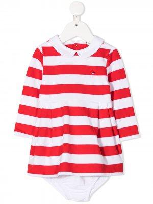 Платье в полоску с логотипом Tommy Hilfiger Junior. Цвет: белый