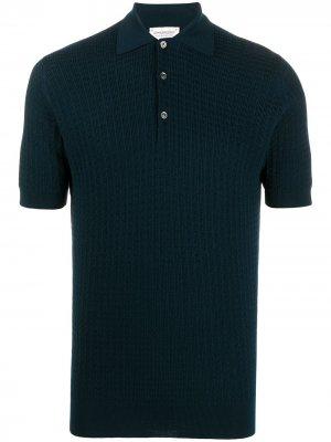 Фактурная рубашка поло John Smedley. Цвет: синий