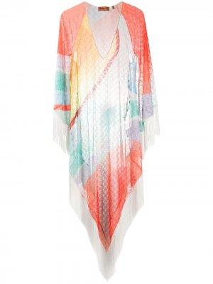 Пляжная накидка в стиле колор-блок Missoni Mare. Цвет: синий