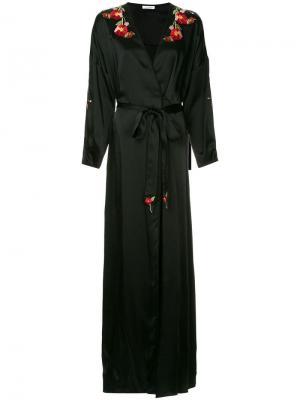 Платье-халат с панелями маками Vilshenko. Цвет: черный