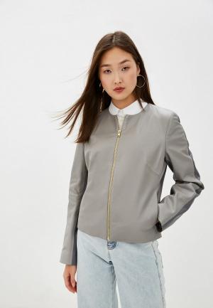 Куртка кожаная Escada Sport. Цвет: серый