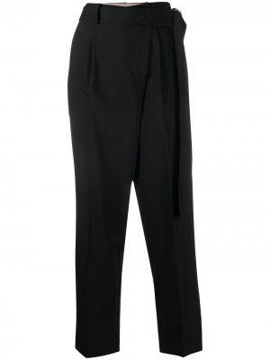 Укороченные брюки с запахом Helmut Lang. Цвет: черный