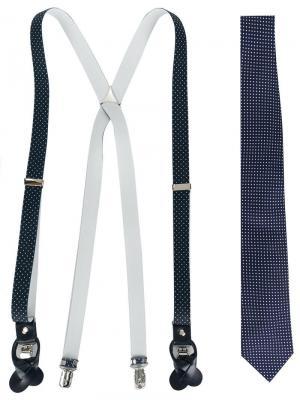 Комплект из галстука и подтяжек Fefè. Цвет: синий