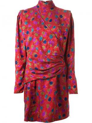 Короткое платье в принт Emanuel Ungaro Vintage. Цвет: красный
