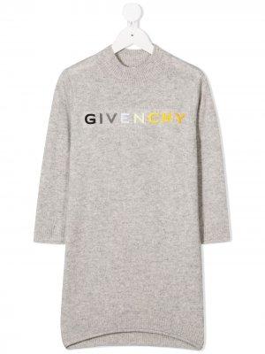 Трикотажное платье с вышитым логотипом Givenchy Kids. Цвет: серый